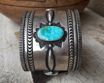 139g Navajo Aaron Toadlena Sterling Silver Turquoise Cuff Bracelet, Native American Indian Jewelry, December Birthstone, Rodeo NFR Style