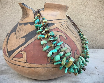 Three Strand Chip Turquoise and Heishi Choker Necklace, Santo Domingo Pueblo Native American Indian Jewelry