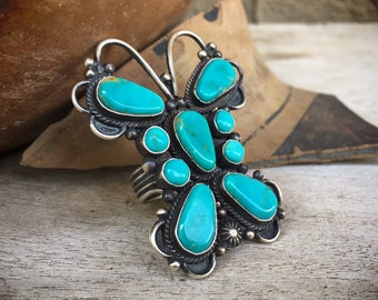 Large Turquoise Butterfly Ring for Women Size 8.5, Signed Navajo Native American Indian Jewelry, Cowgirl Style, Statement Accessory