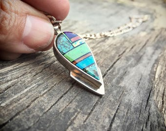 Native American Indian Jewelry Navajo Charlie Bowie Turquoise Mosaic Inlay Pendant Necklace