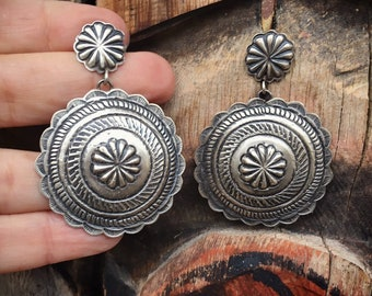 Large Sterling Silver Round Concho Dangle Earrings for Women, Signed Navajo Native American Indian Jewelry