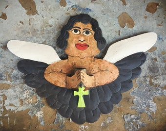 Rare Vintage Nahua Mexican Metal Angel with Wings Wall Hanging, Mexican Folk Art, Religious Wall Art