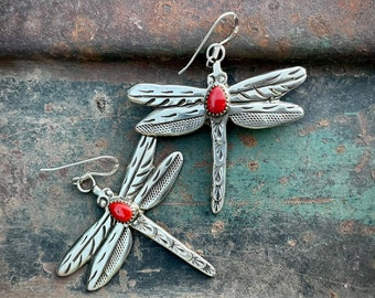 Sterling Silver Red Coral Dragonfly Earrings Signed Z, Navajo Native American Indian Jewelry