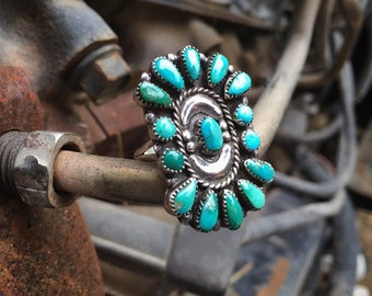 Natural Turquoise Ring Size 6, Sterling Silver Old Pawn Signed Zuni Petit Point, Native America Indian Jewelry