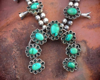 "220gm 28"" Vintage Navajo Morenci Turquoise Squash Blossom Necklace for Women, Native American Indian Jewelry"