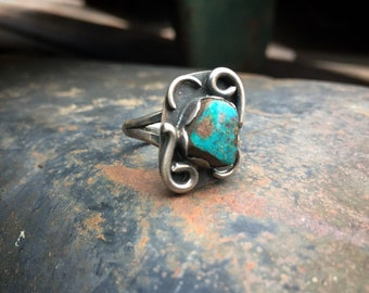 Dainty Turquoise Ring for Women Size 5.75, Southwestern Jewelry Native American Indian Navajo Style