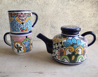 Vintage Puebla Mexico Talavera Pottery Small Tea Pot and Two Cups Blue White Kitchen