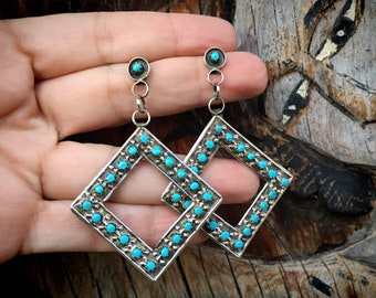Light and Long Zuni Snake Eye Turquoise Dangle Earrings for Women, Native American Indian Jewelry