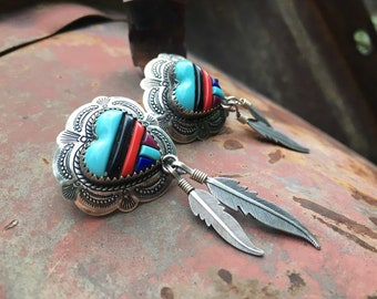 Southwestern Sterling Silver Block Turquoise Heart Feathers Post Earrings for Women, Native America Indian Style Jewelry