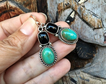 Small Turquoise Black Onyx Earrings, Native American Jewelry for Women, December Birthstone