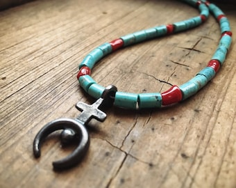 Turquoise and Coral Bead Choker Necklace with Small Silver Naja, Santo Domingo Native American Jewelry