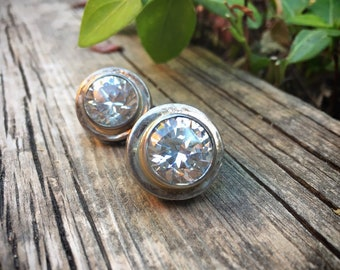 Rhinestone and Sterling Silver Earrings Clip On for Non Pierced Ears, Christmas Holiday Jewelry