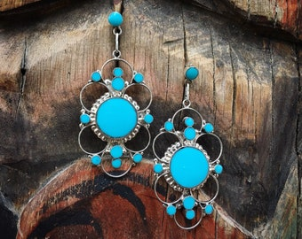 Long Signed Zuni Silver Turquoise Inlay Earrings for Women, Native America Indian Jewelry, Wife Gift