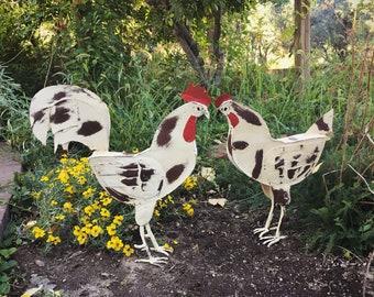 Metal Folk Art Rooter and Hen Statues, Chicken Decor, Rooster Metal Art, Outdoor Yard Sculptures