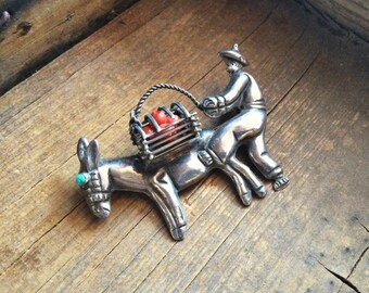 Mexican Silver Brooch Pin Turquoise and Coral Man with Donkey, Vintage Turquoise Jewelry, Taxco Silver