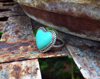 Navajo Sterling Silver Turquoise Heart Ring for Women Girls Size 7, Native America Indian Jewelry