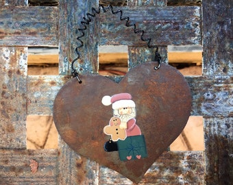 Rusty Rustic Metal Heart Ornament Painted Santa, Farmhouse Decor, Vintage Christmas Tree Decoration