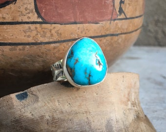 Navajo Christopher J. Hoskie Chunky Turquoise Ring with Stamped Silver Band for Women or Men Size 9