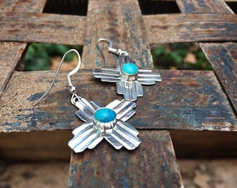Navajo Earrings for Women Sterling Silver Coral Zia Cross, Native American Indian Jewelry New Mexico