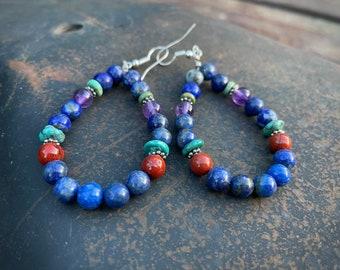"3"" Lapis Sodalite Lapis Amethyst Multistone Bead Hoop Earrings Blue Purple, Southwestern Style"