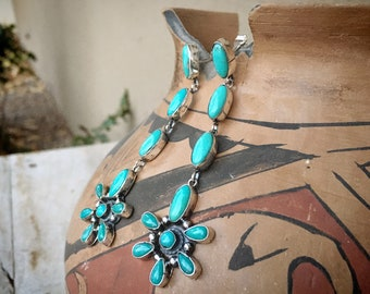 Long Turquoise Cluster Earrings by Navajo Sheila Tso, Native American Jewelry, December Birthday