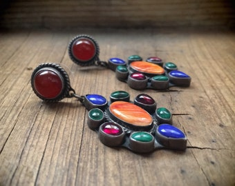 Spiny Oyster Earrings with Multi Stones Carnelian Jewelry, Multi Color Native American Jewelry