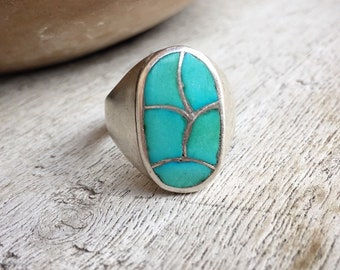 1960s Channel Inlay Turquoise Ring for Men or Women Size 11.25, Native American Indian Jewelry, Men's Ring