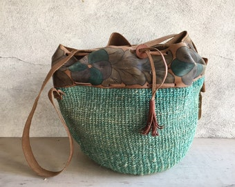 Vintage Sisal Green Straw Purse with Leather Strap and Hand Painted Border, Big Bohemian Tote