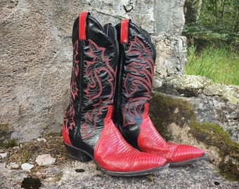 Vintage Tony Lama Cowboy Boots for Women Size 9 M (Runs Small) Lizard Skin Red Black Cowgirl Boots