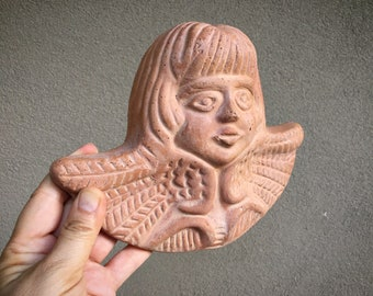 Single Pottery Clay Angel with Wings Wall Hanging, Mexican Folk Art, Religious Wall Art Ceramic