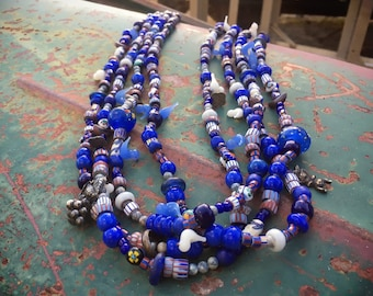 210g Four Strand Trade Bead Necklace with Chevron and Venetian Glass Beads, Bohemian Jewelry