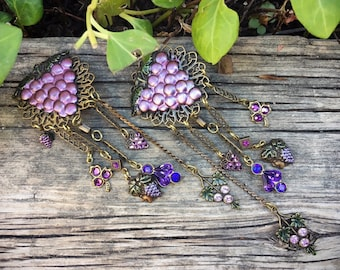 Vintage Purple Grape Clip On Earrings with Long Dangles, Gift for Women with Non Pierced Ears