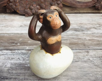 Vintage Mexican Pottery Art Sculpture of Monkey Emerging from Egg in Style of Sergio Bustamante, Surrealist Art