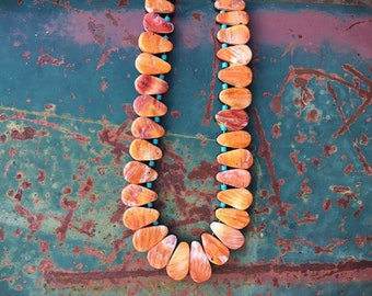 1960s Orange Spiny Oyster Shell Tab Necklace with Turquoise Heishi, Vintage Santo Domingo Jewelry