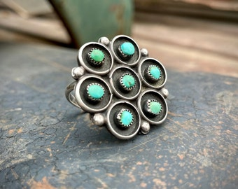 Vintage Large Zuni Snake Eye Turquoise Ring for Women Size 9, Native American Indian Jewelry