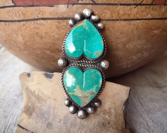Double Turquoise Heart Ring for Women Size 6.25 by Navajo Roy Buck, Native American Indian Jewelry