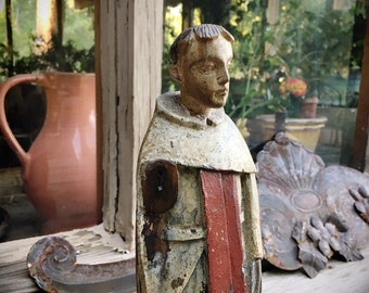 Antique Painted Carved Wood Saint Anthony of Padua Statue, Spanish Colonial Catholic Devotional Religious Altar Art Bulto Mexican Santo
