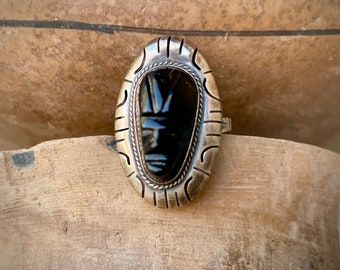 Vintage Sterling Silver Black Onyx Mexican Warrior Ring Size 7.5, Taxco Jewelry, Carved Stone Aztec