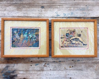 Pair of Framed Signed Anna Barry Color Serigraph Screenprints c. 1940s, Southwestern Art of Native American Dances