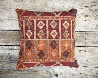 Vintage Turkish Kilim Pillow Beige Orange Red Decor 17 x 17, Accent Pillow, Throw Pillow