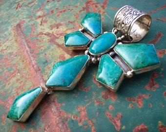 77g Huge Navajo Chrysocolla Dragonfly Pendant for Necklace, Blue-Green Healing Gemstone