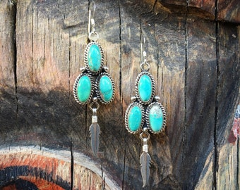 Turquoise Cluster Earrings Signed Navajo Jewelry, Native American Indian Jewelry