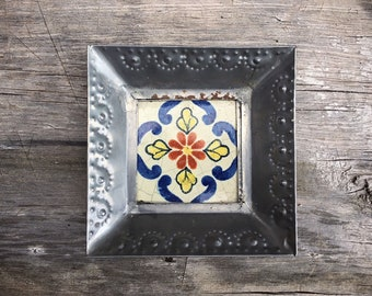 Small Vintage Mexican Tile with Punched Tin Frame Trinket Dish Ring Holder, Southwestern Rustic Decor