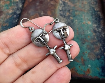 Small Vintage 925 Sterling Silver Akuaba Fertility Effigy Earrings Ghana Africa, Ashanti Jewelry