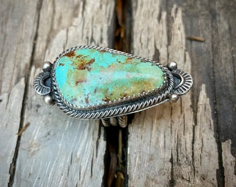 Navajo Travis Largo Real Turquoise Stone Unisex Ring Size 6.25, Native American Indian Jewelry