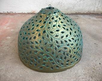 Vintage Cut Brass Metal Hanging Lamp Bohemian Decor Pendant Light Fixture Metal, Boho Decor