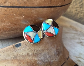 Small Sterling Silver Multicolor Turquoise Inlay Cufflinks, Native American Indian Southwestern