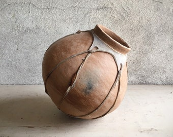 Vintage Mexican Pottery Tarahumara Indian Water Jug Pot with Sinew Straps, Primitive Decor Southwestern Vases