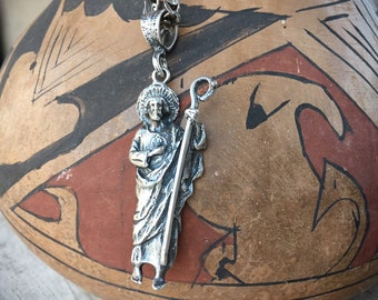 46g Saint Jude the Apostle Heavy Sterling Silver Pendant on Chain, Patron Saint of Desperate Cases