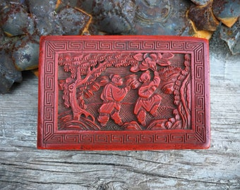 Vintage Chinese Carved Red Box for Jewelry or Small Items Cinnabar Style Design, Chinoiserie Decor